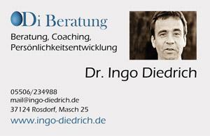 Ingo Diedrich Beratung, Persönlichkeitsentwicklung und Coaching in Göttingen Visitenkarte